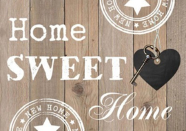Diamond painting Home sweet home (bruin) (50x40cm)(full)