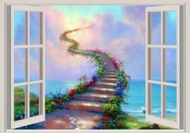Diamond painting raam uitzicht way to heaven (60x40cm)