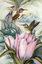 Diamond painting vogeljes op bloemen (60x40cm)(full)