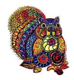 Houten puzzel 3D eekhoorntje A4