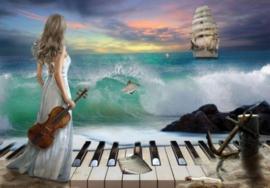 Diamond painting piano meisje (60x45cm)(full)