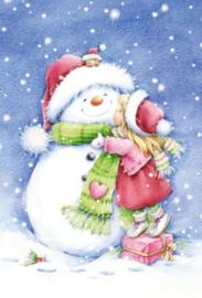 Diamond painting sneeuwpop met meisje (50x40cm)