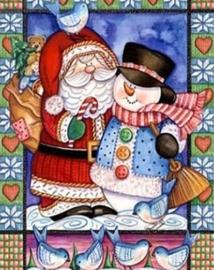 Diamond painting kerstman & sneeuwpop (60x45cm)(full)