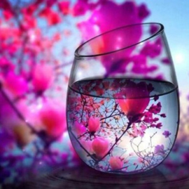 Diamond painting bloemen glas (50x50cm)(full)