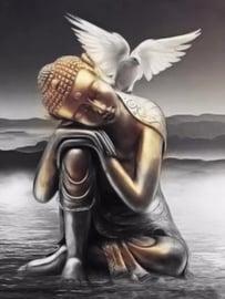 Diamond painting boeddha met duif (60x45cm)(full)