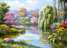 Diamond painting prachtig landschap (80x60cm)(full)