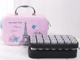 Prachtige koffer met 56 opbergdoosjes (mooi Parijs)