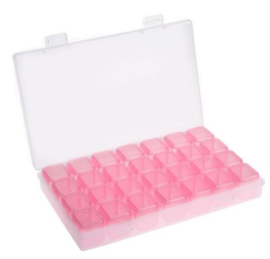 28 opbergdoosjes voor diamond painting (roze)