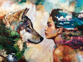 Diamond painting wolf meisje (60x45cm)(full)