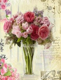 Diamond Painting vaas met bloemen (50x40cm)full)