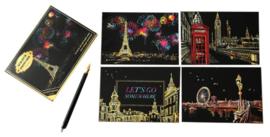 Scratch painting kaarten (4 stuks) (europa)