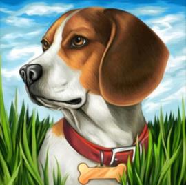 Diamond painting beagle hond (20x20cm)(full)