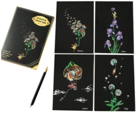 Scratch painting kaarten (4 stuks) (bloemen)