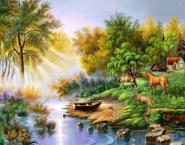 Diamond painting mooi landschap (60x45cm)(full)