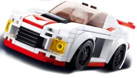 Diamond blocks (grote steentjes) wit/rode auto (152 blokjes)