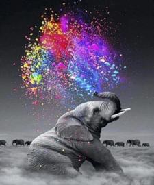 Diamond painting olifant met kleurtjes (80x60cm)(full)