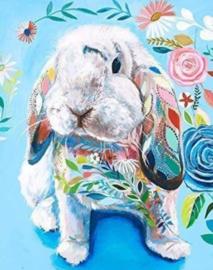 Diamond painting kleur konijntje (50x40cm)(full)