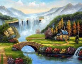 Diamond painting watervallen (60x45cm)(full)