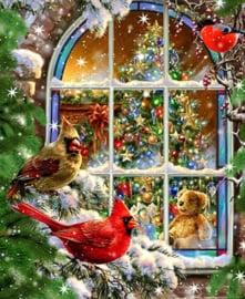 Diamond painting christmas window (60x45cm)(full)