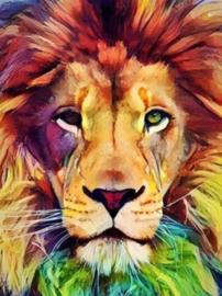 Diamond painting kleurige leeuw (60x45cm)(full)