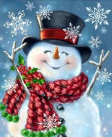 Diamond painting lachende sneeuwpop (50x40cm)(full)