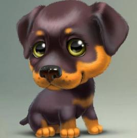 Diamond painting zwart/bruin hondje (30x30cm)(full)