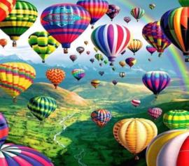 Diamond painting veel luchtballonnen (50x50cm)(full)