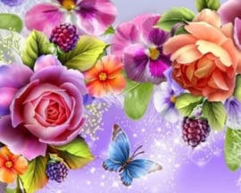 Diamond painting prachtige bloemen (60x45cm)(full)