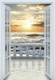 Diamond painting open deur naar strand (70x50cm)