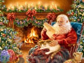 Diamond painting kerstman bij haard (50x40cm)(full)