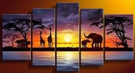 Diamond painting Afrika (5 luik)(2x20x30cm)(2x15x40cm)(1x15x50cm)(full)