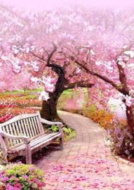 Diamond painting roze bomen met bankje (60x45cm)(full)