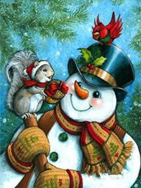 Diamond painting sneeuwpop met eekhoorntje (60x40cm)(full)