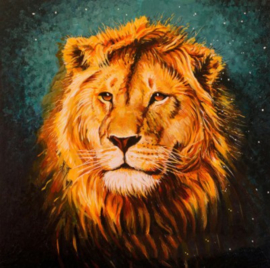 Diamond painting prachtige leeuw (15x15cm)(full)(ronde steentjes)