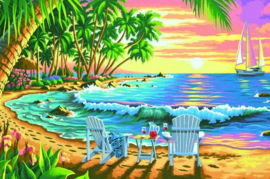 Diamond painting prachtig zee uitzicht (60x45cm)(full)