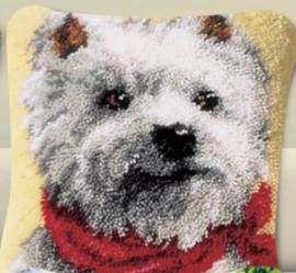 Knoop kussen hondje (40x40cm)