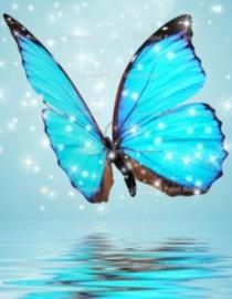 Diamond Painting blauwe vlinder (20x15cm)