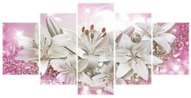 Diamond painting mooie bloemen (5 luik)(2x15x23cm)(2x15x30cm)(1x15x40cm)(full)(ronde steentjes)