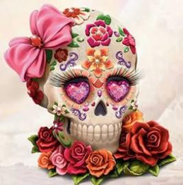 Diamond painting flower skull (50x50cm)(full)