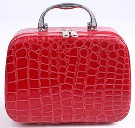 Prachtige koffer met 22 opbergdoosjes (rood)