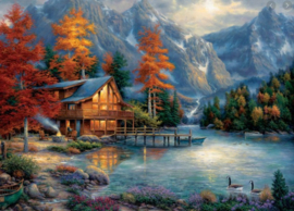 Diamond painting prachtig herfst plaatje (80x60cm)(full)