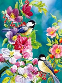 Diamond painting koolmeesjes op bloemen (60x45cm)(full)