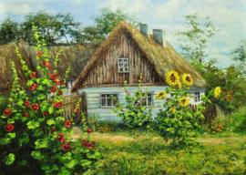 Diamond painting bloemen huisje (60x45cm)(full)