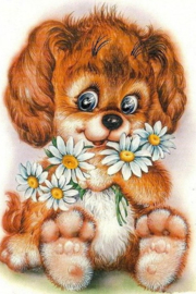Diamond painting hondje met bloemen (60x40cm)(full)