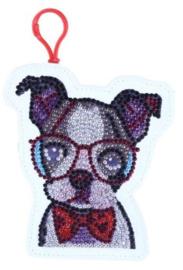Diamond painting portemonnee (hondje met bril)