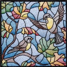 Diamond painting gekleurde vogels (50x50cm)(full)