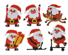 Diamond painting stickers kerstman (6 stuks)