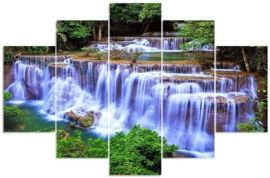 Diamond painting watervallen 5 luik (2x15x25cm)(2x15x40cm)(1x15x55cm)(full)