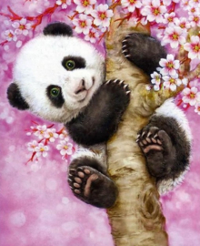 Diamond painting panda in boom (25x20cm)(full)(ronde steentjes)