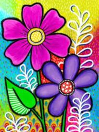 Diamond painting fleurige bloemen (50x40cm)(full)